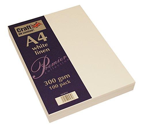 Craft UK W123 Recycelter Leinen-Karton, 300 g/m², Weiß, 100 Blatt