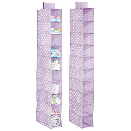 mDesign Juego de 2 estanterías Colgantes para el Armario – Armario de Tela con 10 Compartimentos para Dormitorio y Cuarto Infantil – Organizador de armarios con diseño de Lunares – Lila Claro/