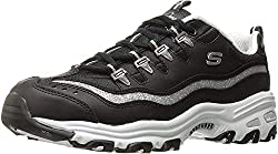 powerful Skechers Sport Women's D'Lites Me Time Memory Foam Lace Up Sneakers Biggest Fan, Black and White, $ 11M
