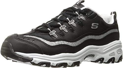 Skechers Damen Sneaker D´Lites BIGGEST FAN, Schwarz (silber, schwarz), 38 EU (M)