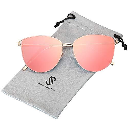 SOJOS Retro Runde Katzenaugen Sonnenbrille Mirrored Metall Flach Linsen SJ1085 mit Gold Rahmen/Dunkelrosa Linse