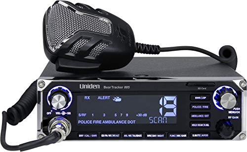 Uniden BEARTRACKER 885 Hybrid Full-Featured CB Radio + Digital TrunkTracking Police/Fire/Ambulance/DOT Scanner w/ BearTracker Warning System Alerts, 40-channel CB, 4-Watts power, 7-color display.