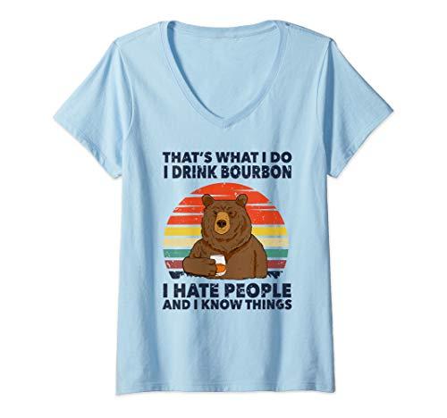 Damen That's What I Do I Drink Bourbon I Hate People Bear Vintage T-Shirt mit V-Ausschnitt
