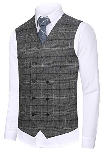 Hanayome Men's Bozzy Grey plaid Slim Fit Shaped Gilet Suit Vest 2017 New Waistcoat,Grey 1,XXXL(US Tag Chest 56