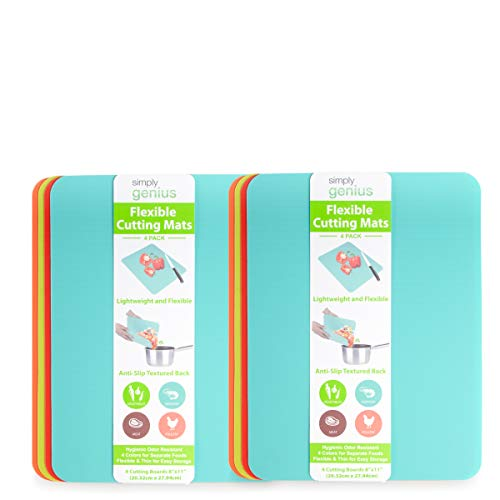 "Simply Genius (8 Pack) 8 x 11"" Extra Thick Cutting Boards for Kitchen Prep, Non Slip Flexible Cutting Mat Set, Dishwasher Safe, BPA Free Plastic Colorful Chopping Mats for Meats and Vegetables"