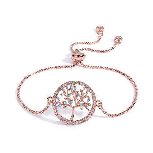 shangwang BZ005-R - Pulsera ajustable con colgante de tortuga, color oro rosa, perlas de regalo para mujer