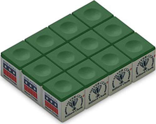 Silver Cup Billiard/Pool Cue Chalk Box, Green, 12 Cubes