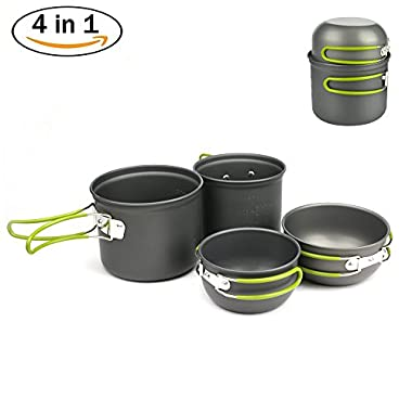 DONYER POWER Donyer Outdoor Camping Cookware Set 4 Pieces, Lightweight Compact Durable Camping Bowl Pot Pan Cooking Mess Kit for Camping Backpacking Hiking Picnic for 2-3 Persons