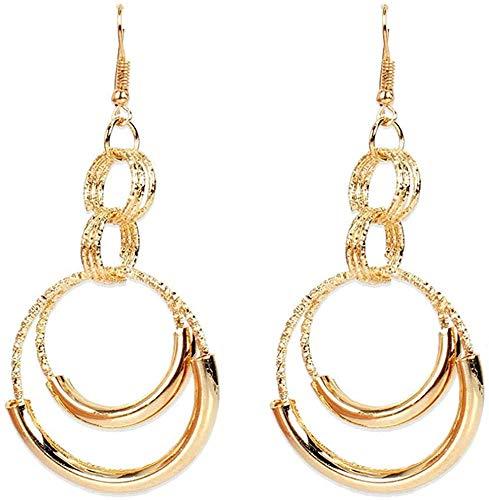 JIAJBG Damas Pendientes Hechos a Mano Vintage Aleación de Oro Pendientes Grandes Círculos para Mujer Pendientes Simples Moda