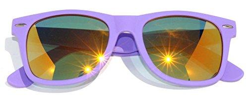 Classic Vintage Full Mirror Lens Sunglasses Matte Purple Frame