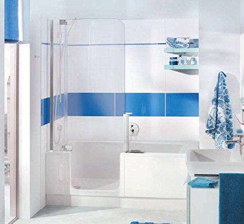 Nischen Badewanne mit Tür und Dusche Artweger Twinline 2 mit Einlaufgarnitur Profil Metall hochglanz