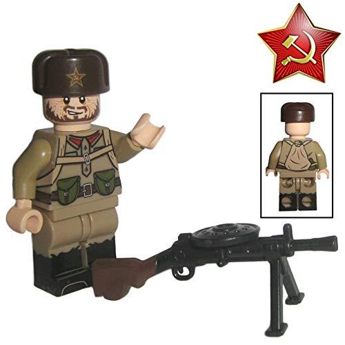 Custom Brick Design - WW2 Serie - Sovietischer Soldat V.3 Figur der Roten Armee - modifizierte Minifigur des bekannten Klemmbausteinherstellers & somit voll kompatibel zu Lego