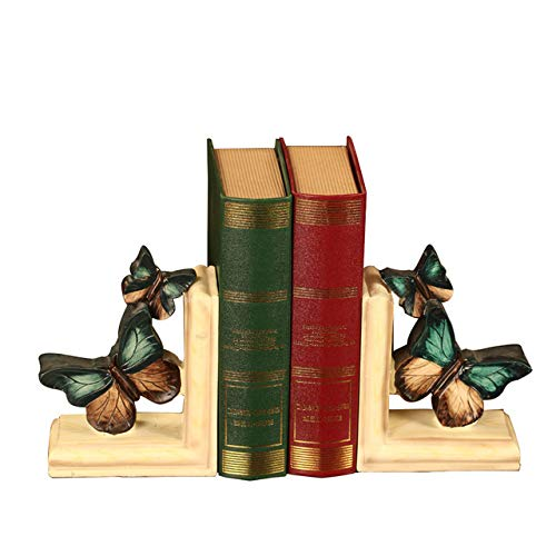 LISAQ Pastoral Butterfly Bookend American Country Style Resin Crafts(2 Pack