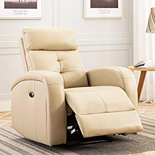 ANJ Big and Tall Electric Power Recliner Chair with USB Charge Port Breathable Bonded Leather Sofa Reclining Home Theater Seating for Living Room(Buff)