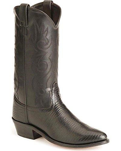 Old West Men's Lizard Printed Cowboy Boot Medium Toe Black 13 D(M) US Black Lizard Cowboy Boots