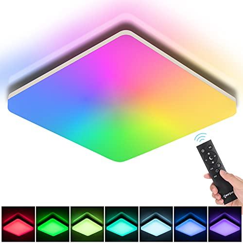 Oeegoo Lámpara LED de techo de 24 W, regulable, RGB, 2400 lm, regulable, con mando a distancia, IP54, cambio de color para habitación infantil, salón, dormitorio