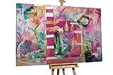 Kunstloft® Extraordinario Cuadro al óleo 'Haute Couture' 180x120cm | Original Pintura XXL Pintado a Mano sobre Lienzo | Abstracto Fucsia | Mural de Arte Moderno