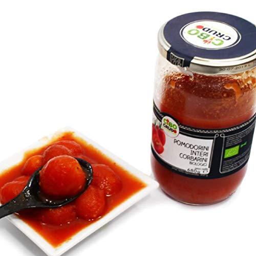 CiboCrudo Conserva di Pomodorini di Corbara Biologica, Prodotto Italiano, Senza Aggiunta di Sale, Sugo di Pomodoro Artigianale, Per Pasta e Pizza, Bottiglia di Vetro – 680 gr