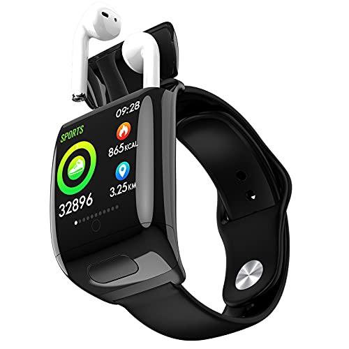 XXHDEE TWS M8 Pulsera Smart Watch 2 en 1 Inalámbrico Azul Diente Auricular Combo Presión Arterial Monitor de Ritmo cardíaco Auriculares (Color : Black)
