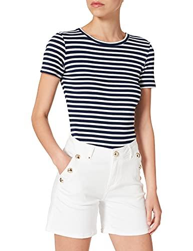 Morgan Short Denim Bouton métal 201-SHANA1 Pantalones Cortos, Off White, 42 ES/44 ES para Mujer