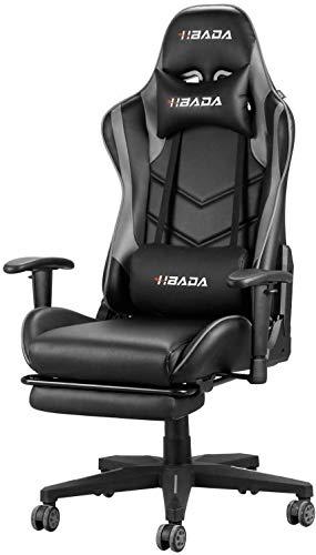 Hbada Gaming Stuhl Racing Stuhl Bürostuhl Chefsessel ergonomischer Drehstuhl Computerstuhl Kunstleder mit Fußstütze mit Kopfstütze und Ledenkissen Grau
