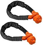 SAMLIGHTING Orange Synthetic Soft Shackle Rope 1/2 Inch X 22 Inch (38,000lbs Breaking Strength) Soft Shackle Rope Synthetic for Boating ATV Truck Jeep Recovery Trailer (Orange 2 Pack)