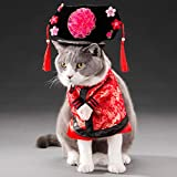 Yu-Xiang Pet Gege Costume Dogs Cosplay Chinese Style Tang Dynasty Gege Clothes Funny Personalized Clothing Fashion Pets Dog Cat for Halloween Christmas Dress Up (L)