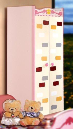 bumbkincraft Kleiderschrank Prinzessin in pink und rosa. Kinderzimmer Schrank mit viel Platz für Keider, Schuhe, Spielzeug und mehr.