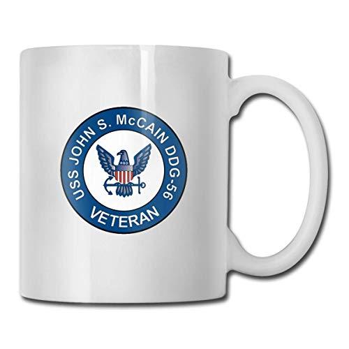 Taza de veterano USS John S McCain DDG-56, taza de café para bebidas calientes, taza de gres, taza de café de cerámica, taza de té de 11 oz, regalo divertido, taza de café y té