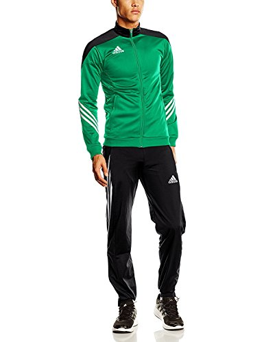 adidas Herren Trainingsanzug Sereno 14 PES, Grün (Top:Twilight Green/Black/White Bottom:Black/White), S, F49714
