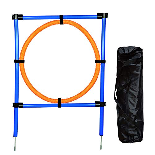 MelkTemn Pets Set per addestramento Agility Dog Sport, Kit AGILITÀ Esercizio Starter, Hoop Salto Bar, Arancione/Blu (Jump Ring)