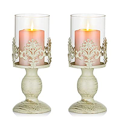 Nuptio Pcs of 2 Vintage Metal Pillar Candle Holder Antique Hurricane Candlestick with Glass Screen Cover Accent Display for Home Wedding Candlelight Dinner Decoration (S+S) by Fuzhou cangshan