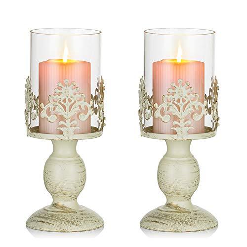Nuptio 2 Stücke Vintag Design Geschnitzter Kerzenständer, Paket Aktualisiert Hochzeit Party Weihnachten Tischdekoration Kerzenständer, Großer Kerzenhalter Metall Glashaube Shabby Chic Deko