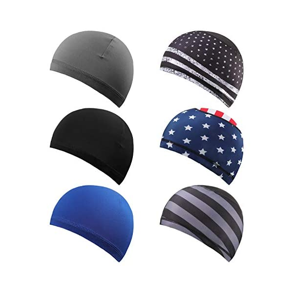 Geyoga 6 Pieces Skull Cap Running Hats Sweat Wicking Hats Cooling Beanie Cap Cycling Helmet Liner for Men and Women