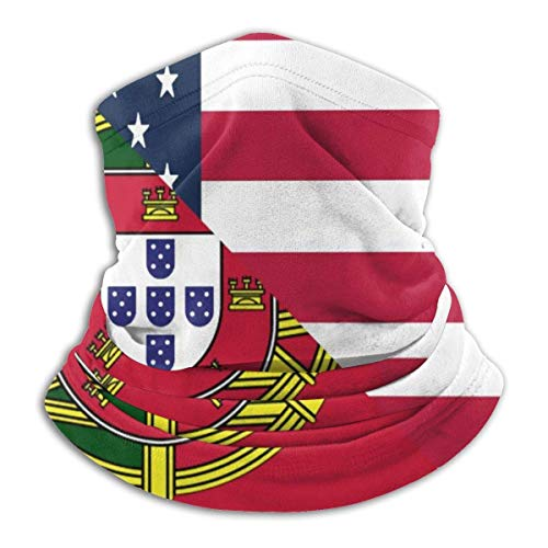 Emonye Headwear Face Shield,American and Portugal Flag Neck Gaiter Style for Football Headwear Face,25x30cm