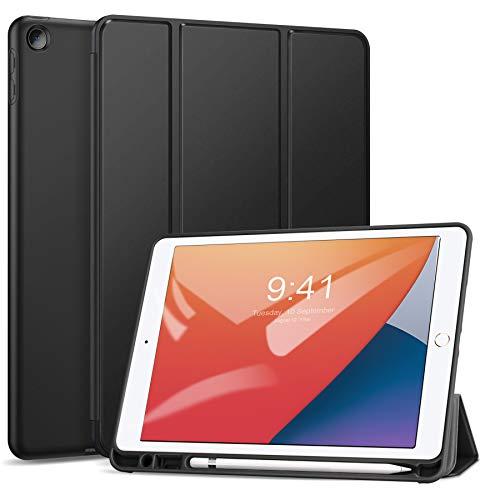 ZtotopCase Hülle für iPad 10.2 2019 und iPad 10.2 2020,Ultradünne Soft TPU Rückseite Abdeckung Schutzhülle mit eingebautem iPad Stifthalter,Auto Schlaf/Aufwach,für iPad 7/8 Generation,Schwarz