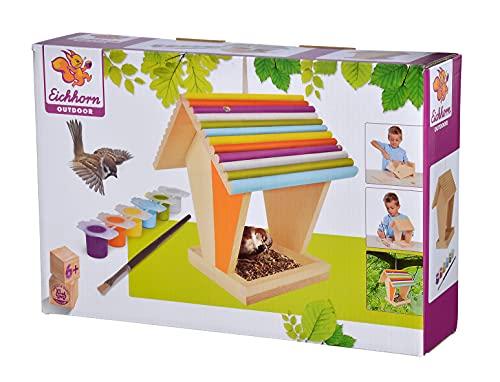 Eichhorn 100004582 Outdoor-100004582-Futterhaus aus Holz, zum Zusammenbauen und Bemalen, inkl. Pinsel und Farben, 14x14x24cm Lindenholz, DIY, Bunt