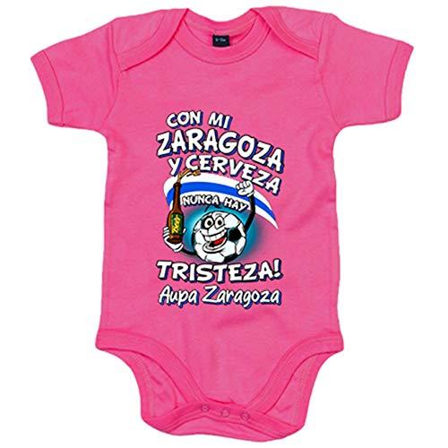 Body bebé frase con mi Zaragoza y cerveza nunca hay tristeza fútbol - Rosa, 12-18 meses