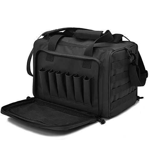 Tactical Gun Shooting Range Bag, Deluxe Pistol Range Duffle Bags Black