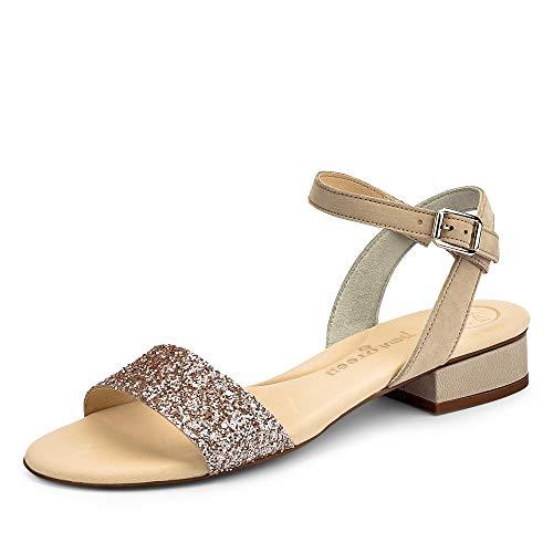 Paul Green 7598 016 modische Damen Sandale aus Nubukleder Lederinnenausstattung, Groesse 37, rosé