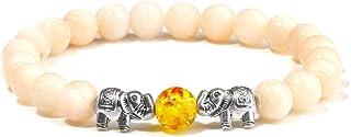سوار مطرز، أزياء صفراء طبيعية حجر اليشم الخرز الفضي اللون الفيل سحر مرونة سوار أساور للنساء زوجين الهدايا