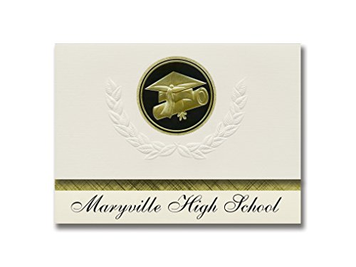 Signature Announcements Maryville High School (Maryville, MO) Graduation Announcements, Presidential style, Elite package of 25 Cap & Diploma Seal. Black & Gold. -  Signature Announcements, Inc, PAC_ELITEPres_HS25_118189_212320