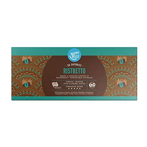 Amazon-Marke: Happy Belly Ristretto Gemahlener UTZ Röstkaffee in Kapseln (kompostierbar), geeignet für Nespresso-Maschinen, 50 Kapseln (5x10)