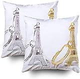 2 llaveros de recuerdo de la mini torre Eiffel París Francia funda de almohada funda de almohada de 45,7 x 45,7 cm, fundas de almohada para sofá o sofá