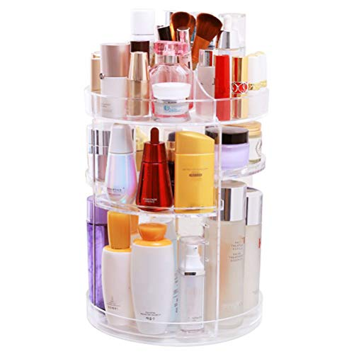 POKIENE Kosmetik Organizer, Beauty Aufbewahrungsbox 360° drehbar, Make-up Organizer Kosmetiktabletts für Lippenstift, Gesichtscreme, Pinsel, Hautpflegeprodukte (Transparentes)
