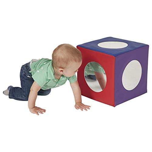 ECR4Kids SoftZone Mirror Cube - Foam Sensory Toy for Baby / Toddler Play & Self-Discovery, Assorted Colors
