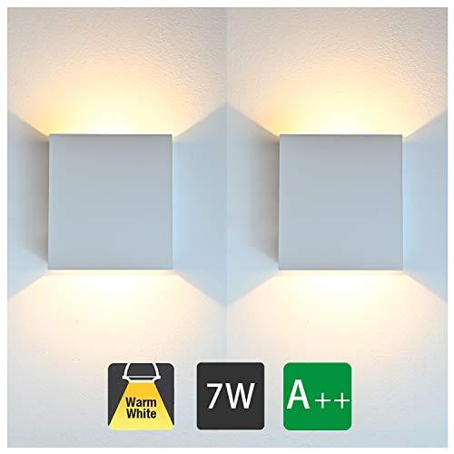 2 Stücke Wandleuchte Innen Weiß Led modern, 7W Wandbeleuchtung Up Down Aluminium Design, 3000K Warmweiß High Bright Wandlampe für Wohnzimmer, Schlafzimmer, Flur, Balkon, Treppen