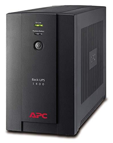 APC BX1400UI Back-UPS BX - Sistema de alimentación ininterrumpida SAI 1400VA (6 salidas tipo IEC, AVR, USB, software de apagado)