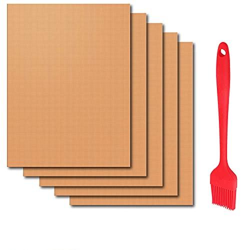PEYOU BBQ Grillmatte (2020 Neues), 5er Set Grillmatten mit 1 Silikon Bürste, Grillmatte Antihaft Wiederverwendbar PFOA-Frei, für Zum Gasgrill, Holzkohlegrill, Elektrogrill & Webergrill - 40 x 33 cm
