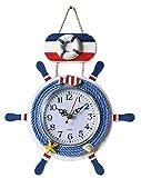CUCUBA Simpático reloj de pared para restaurante, casa, barco, diseño de timón 32 x 24 x 2 cm – Idea regalo